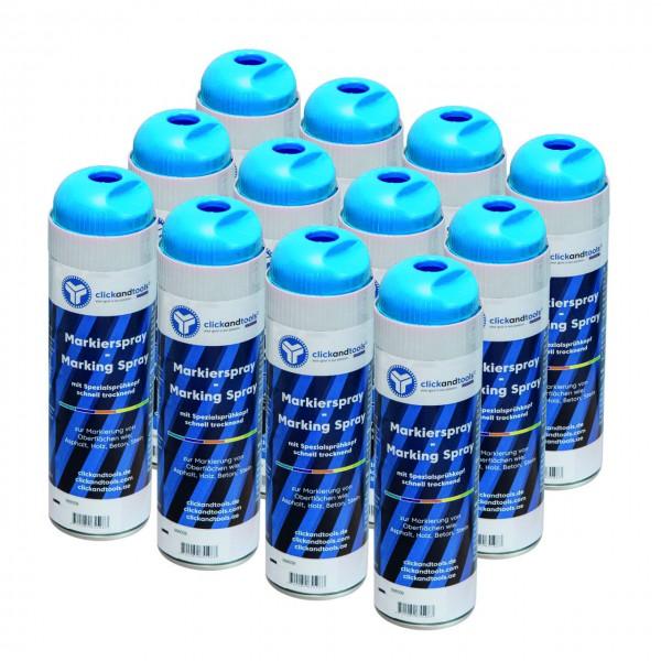 Markierungsspray leuchtend blau clickandtools® 12'er Pack