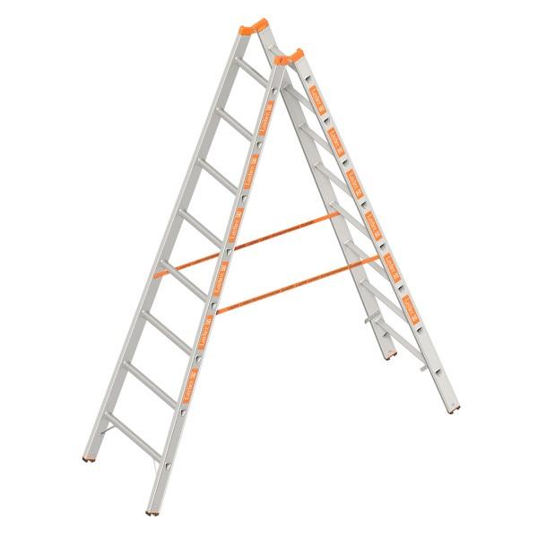 TOPIC 1039 ALU Layher Stehleiter zweiteilig, 2x9 Dreikant-Sprossen 2,65 m