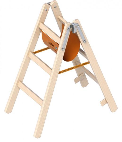 1038 Holzstehleiter Layher Zweiteilig, 2x3 verzapften Sprossen. 1,00 m